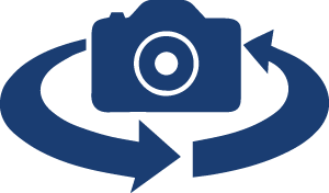 Camera icon with two arrows circling it